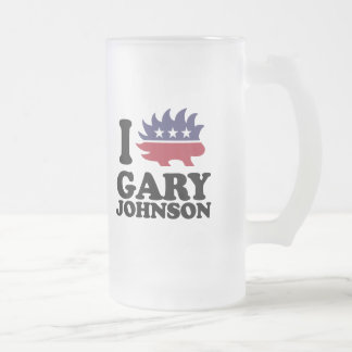I Love Gary Johnson - Libertarian - -  16 Oz Frosted Glass Beer Mug