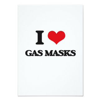 "I love Gas Masks 5"" X 7"" Invitation Card"