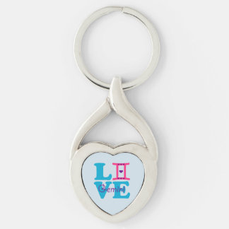 ♊★😍I Love Gemini-Best-Zodiac Sign Twisted Heart Keychain