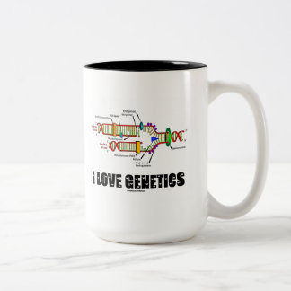 I Love Genetics (DNA Replication) Two-Tone Coffee Mug