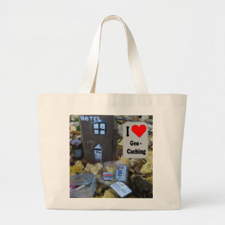 I love Geocaching bag: Fence post hide Large Tote Bag