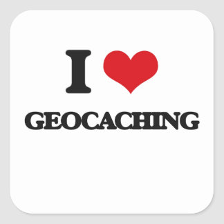 I Love Geocaching Square Sticker