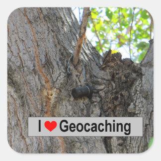 I love geocaching: Tree Hanger Square Sticker
