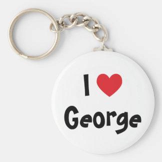 I Love George Basic Round Button Keychain