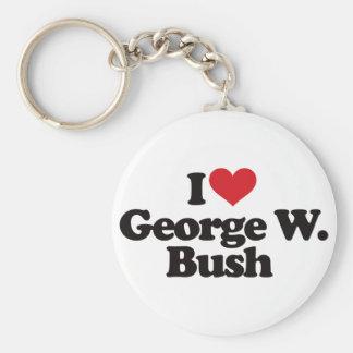 I Love George W Bush Basic Round Button Keychain