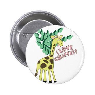 I Love Giraffes! 2 Inch Round Button