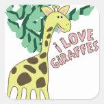 I Love Giraffes! Square Sticker