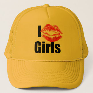 I love Girls - Kiss, Smooch, Love, Heart Trucker Hat