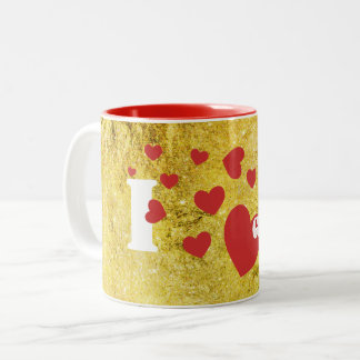 I Love Glitter and Red Hearts Two-Tone Coffee Mug