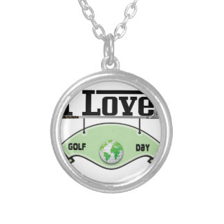 I Love Glof Day Silver Plated Necklace