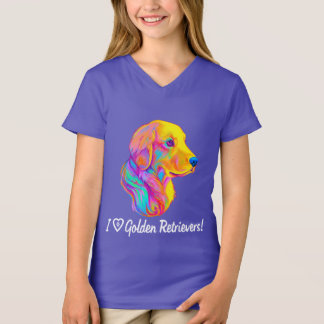 I Love Golden Retrievers in Colors T-Shirt