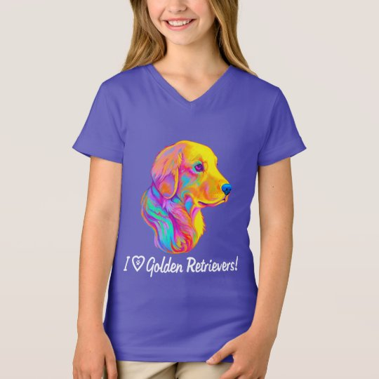 I Love Golden Retrievers in Colours T-Shirt