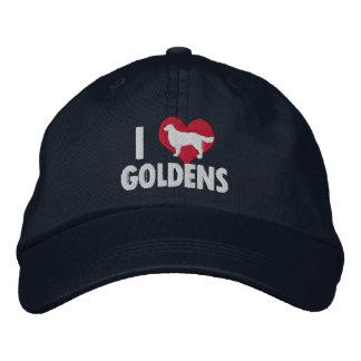 I Love Goldens Dark Embroidered Hat