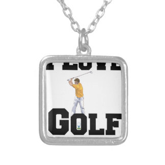 I Love Golf 01 Silver Plated Necklace