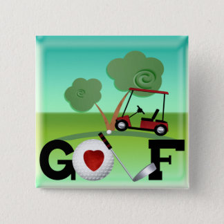 I Love Golf 2 Inch Square Button