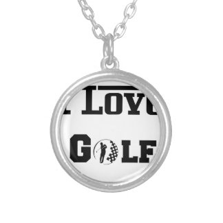 I Love Golf 2 Silver Plated Necklace