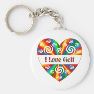 I Love Golf Basic Round Button Keychain