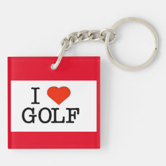 I Love Golf Double-Sided Square Acrylic Keychain