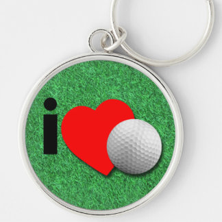 I Love Golf Silver-Colored Round Keychain