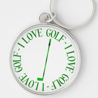 I love golf! Silver-Colored round keychain