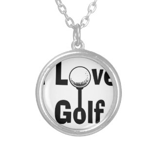 I Love Golf Silver Plated Necklace