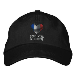 I Love Good Wine & Cheese Hat Embroidered Baseball Caps