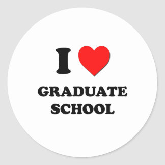 I Love Graduate School Classic Round Sticker