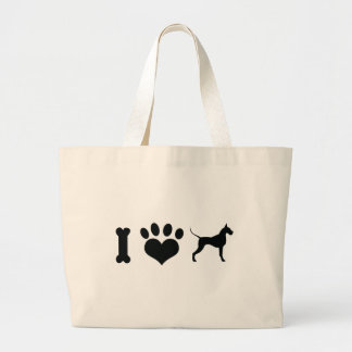 I LOVE Great Danes! Large Tote Bag