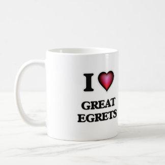 I Love Great Egrets Coffee Mug