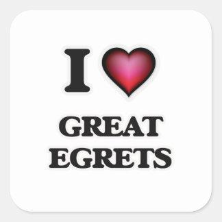 I Love Great Egrets Square Sticker