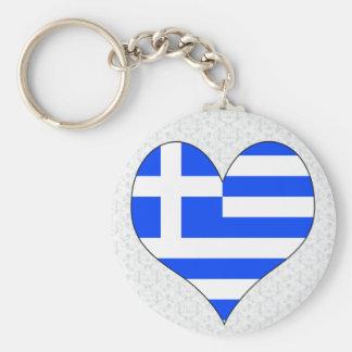 I Love Greece Basic Round Button Keychain
