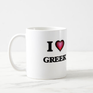I Love Greek Coffee Mug