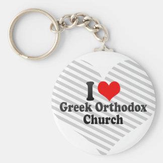 I love Greek Orthodox Church Basic Round Button Keychain