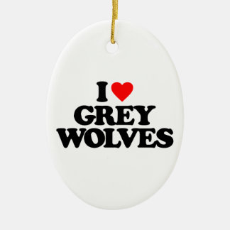 I LOVE GREY WOLVES CHRISTMAS TREE ORNAMENTS