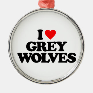 I LOVE GREY WOLVES CHRISTMAS ORNAMENT