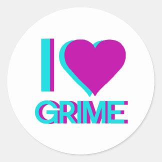 i love grime music classic round sticker
