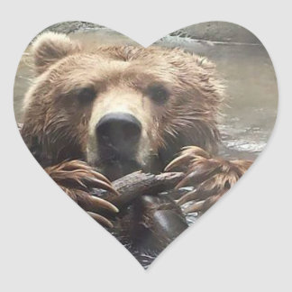 I love grizzly Bears Heart Sticker