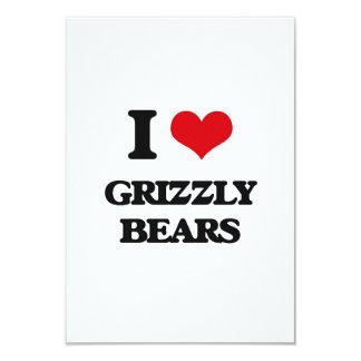 "I love Grizzly Bears 3.5"" X 5"" Invitation Card"