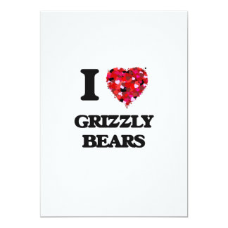 "I Love Grizzly Bears 5"" X 7"" Invitation Card"