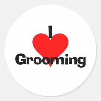 I Love Grooming Round Sticker