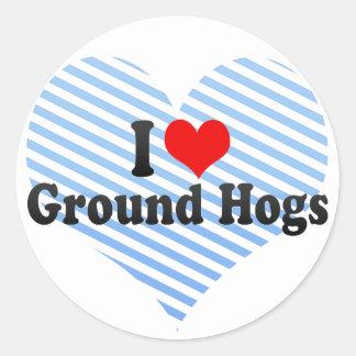 I Love Ground Hogs Classic Round Sticker