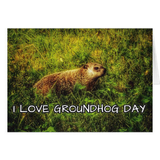 I love Groundhog Day greeting card