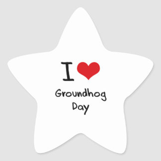 I Love Groundhog Day Star Sticker