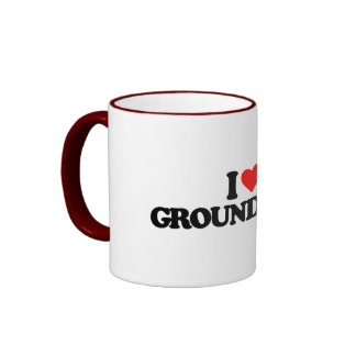 I LOVE GROUNDHOGS RINGER COFFEE MUG