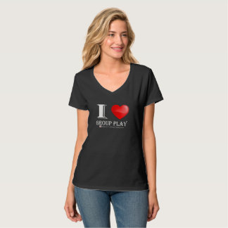 I Love Group Play-V Neck T-Shirt