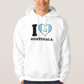 I Love Guatemala Guatemalan Flag Heart Hoodie
