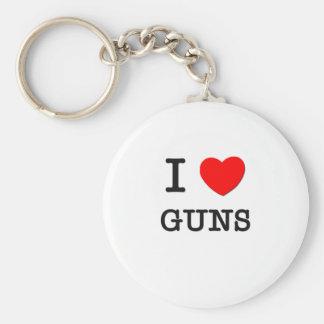 I LOVE GUNS BASIC ROUND BUTTON KEYCHAIN