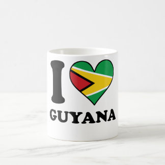 I Love Guyana Guyanese Flag Heart Coffee Mug