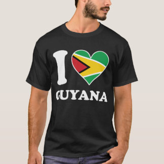 I Love Guyana Guyanese Flag Heart T-Shirt