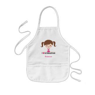 I love gymnastics cartoon girl personalized name kids apron